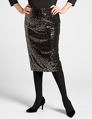 Sequin Pencil Skirt, GOLD MIX, catlanding