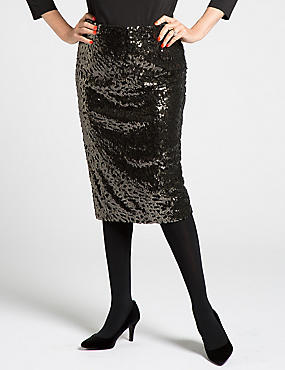 Pull On Sequin Pencil Skirt, GOLD MIX, catlanding