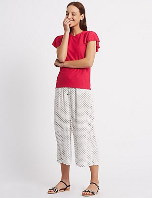 Spotted Cropped Wide Leg Trousers, WHITE MIX, catlanding