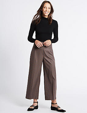 Checked Wide Leg Trousers, NATURAL MIX, catlanding