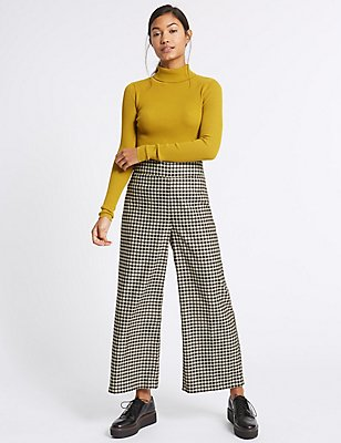 Checked Wide Leg Trousers, BLACK MIX, catlanding