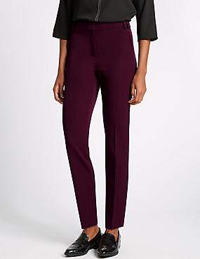 Slim Leg Trousers, BERRY, catlanding