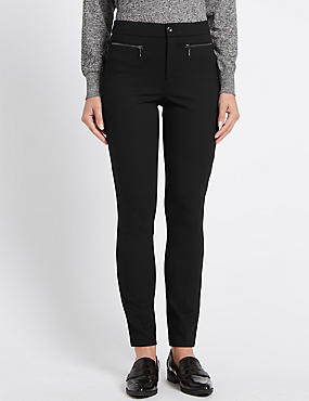 Posh Ponte Slim Leg Trousers, BLACK, catlanding