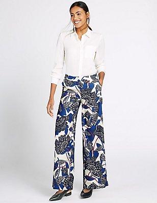 Printed Wide Leg Trousers, BLUE MIX, catlanding