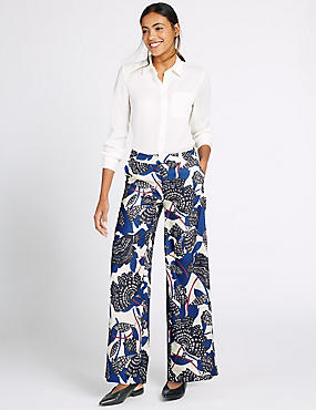 Satin Back Crepe Printed Wide Leg Trousers, BLUE MIX, catlanding