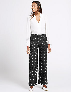Satin Back Crepe Spotted Wide Leg Trousers, BLACK MIX, catlanding