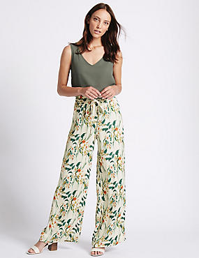 Printed Hammered Wide Leg Trousers, IVORY MIX, catlanding