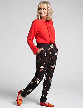 Floral Print Crepe Trousers, BLACK MIX, catlanding
