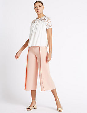 Side Split Wide Leg Trousers, SOFT PINK, catlanding