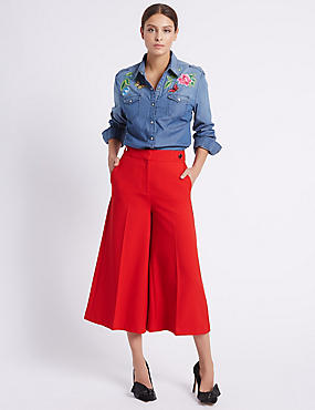 Button Detail Wide Leg Cropped Trousers, RED, catlanding