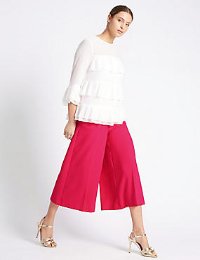 Button Detail Wide Leg Cropped Trousers, FUCHSIA, catlanding