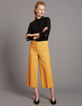 Wide Leg Cropped Trousers, MUSTARD, catlanding
