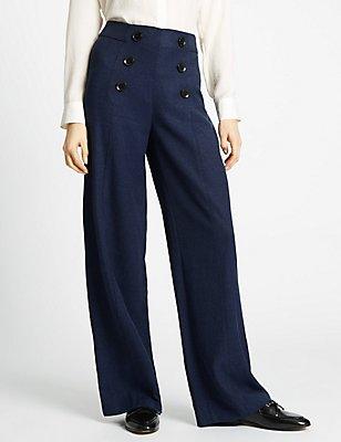 Button Front Textured Wide Leg Trousers, NAVY MIX, catlanding
