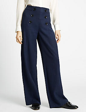 Button Front Textured Wide Leg Trousers, NAVY MIX, catlanding