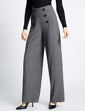 Button Front Textured Wide Leg Trousers, GREY MIX, catlanding