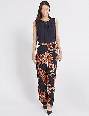 Floral Print Wide Leg Trousers, ORANGE MIX, catlanding