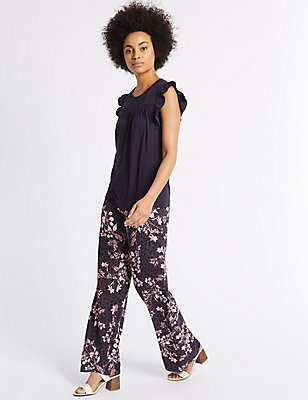 Floral Print Wide Leg Trousers, NAVY MIX, catlanding