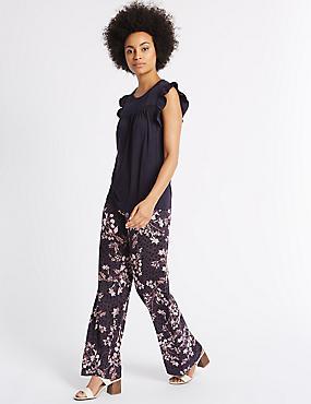 Pantalon large à imprimé fleuri, BLEU MARINE ASSORTI, catlanding