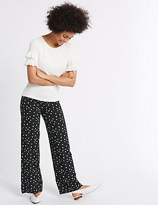 Printed Wide Leg Trousers, BLACK MIX, catlanding