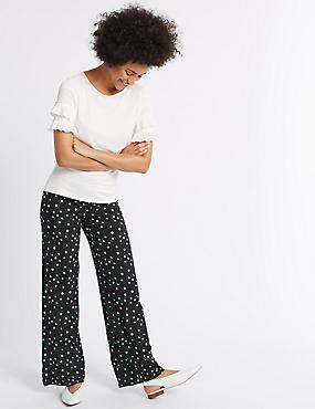 Pantalon large avec imprimé, NOIR ASSORTI, catlanding