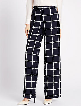 Satin Checked Wide Leg Trousers, NAVY MIX, catlanding