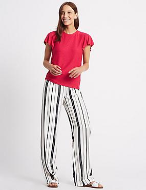 Striped Wide Leg Trousers, BLACK MIX, catlanding