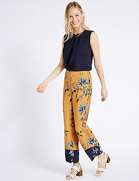 Printed Contrasting Hem Wide Leg Trousers, YELLOW MIX, catlanding