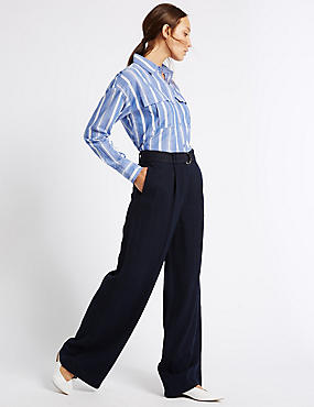 Linen Rich Wide Leg Trousers, NAVY, catlanding