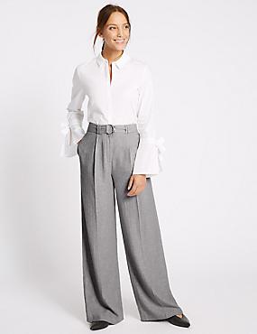 Pantalón de pata ancha de lino, GRIS, catlanding