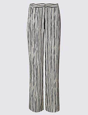Striped Wide Leg Trousers, NAVY MIX, catlanding