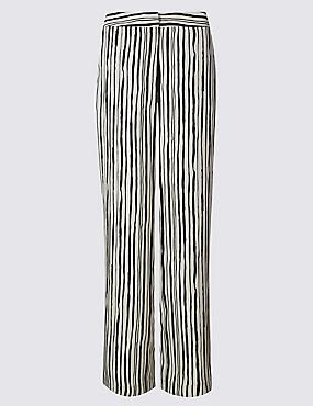 Pantalon coupe large à rayures, BLEU MARINE ASSORTI, catlanding