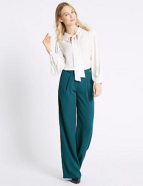 Waist Button Pleated Trousers, TEAL, catlanding