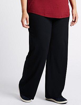 Jersey Wide Leg Trousers, NAVY, catlanding