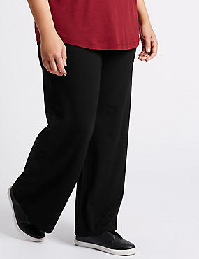 Jersey Wide Leg Trousers, BLACK, catlanding
