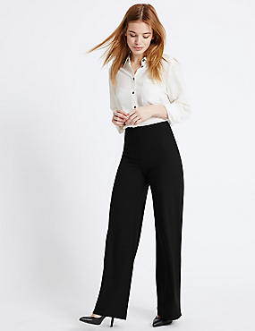 PETITE Wide Leg Trousers, BLACK, catlanding