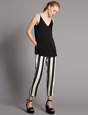 Striped Cropped Tapered Leg Trousers, BLACK STRIPE, catlanding