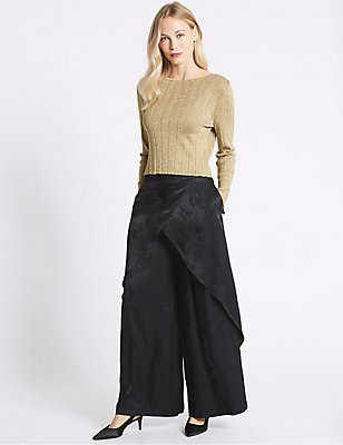 Satin Jacquard Wide Leg Wrap Trousers, BLACK MIX, catlanding