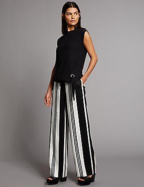 Variegated Stripe Wide Leg Trousers, BLACK MIX, catlanding