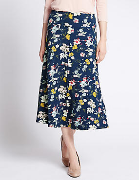 Tailored Fit Floral Midi Skirt, NAVY MIX, catlanding