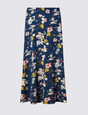 Зауженная юбка-миди с цветочным рисунком
