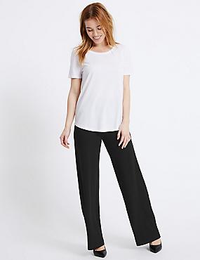 PETITE Wide Leg Trousers, BLACK, catlanding
