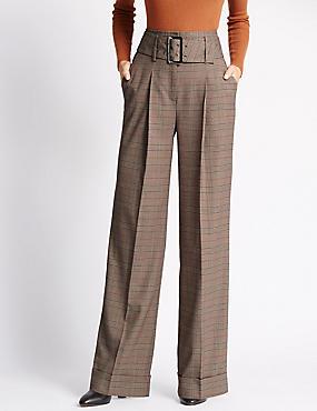 Wide Leg Striped Trousers, NEUTRAL, catlanding