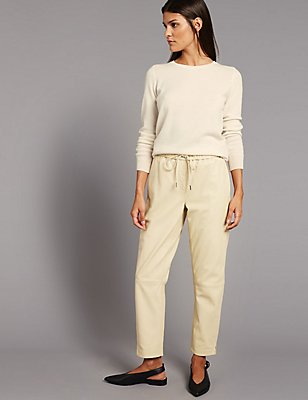 Leather Tapered Leg Trousers, CREAM, catlanding
