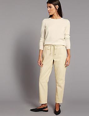 Pantalon fuselé en cuir, CRÈME, catlanding