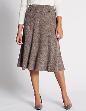 Textured Midi A-Line Skirt, CHOCOLATE MIX, catlanding