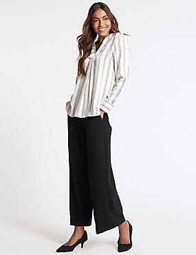 Wide Leg Cropped Trousers, BLACK, catlanding