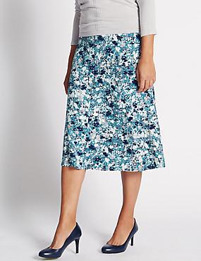 Floral Print Midi A-Line Skirt, PETROL, catlanding