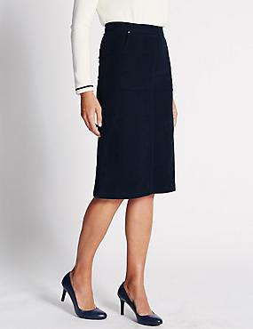 Pure Cotton Pencil Skirt, PETROL, catlanding