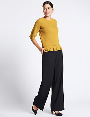 Double Button Wide Leg Trousers, NAVY, catlanding