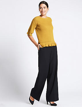 Pantalon large à double bouton, BLEU MARINE, catlanding